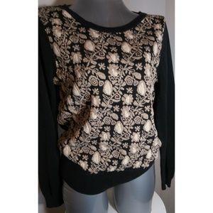 Cato Black & Gold design Sweater Size Large